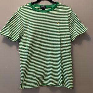 Ralph Lauren green and white stripe tee. Size XL